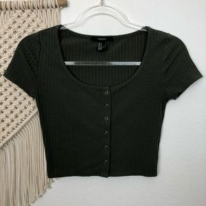 Forever 21 Olive Green Ribbed Crop Top Size Small
